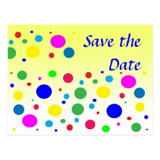 Party Colors Save the Date Wedding Postcards