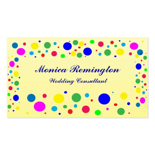 Party Colors Wedding Consultant Business Card