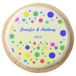 Party Colors Wedding Sugar Cookies Round Premium Shortbread Cookie