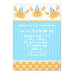 "Party Crabs Birthday Invitations 5"" X 7"" Invitation Card"