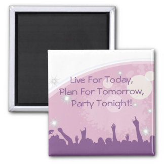 Party Crowd 2 Inch Square Magnet