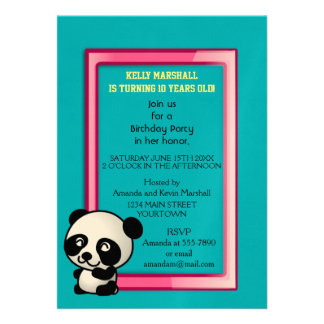 Party! Cute black and white panda bear Card