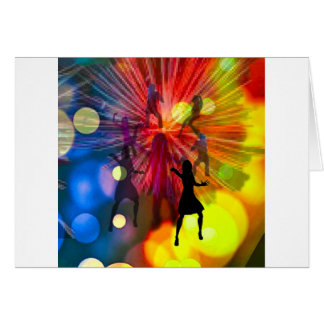 Party, dance and lights in celebration card