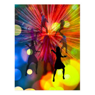 Party, dance and lights in celebration postcard