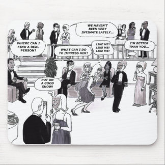 Party, dating, thought bubbles. mouse pad