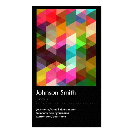 Party DJ - Colorful Mosaic Pattern Business Card Templates