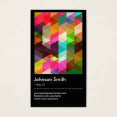 Party Dj - Colorful Mosaic Pattern Business Card at Zazzle