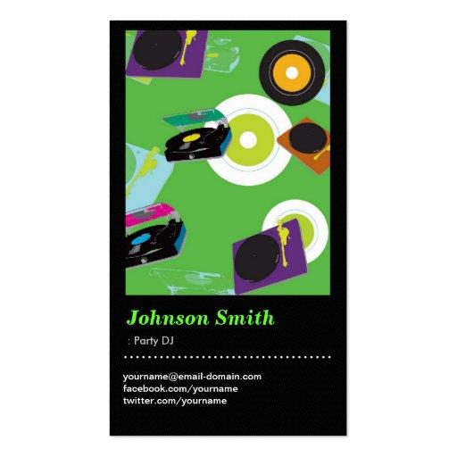 Party DJ - Cool Disc Jockey Mixer Deck Drawing Business Card Template