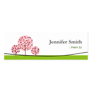 Party DJ - Cute Pink Tree Symbol Business Card