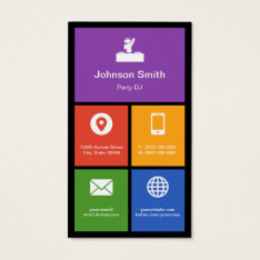 Party DJ Disc Jockey - Colorful Tiles Creative Business Card at Zazzle