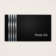 Party Dj Professional Black Silver Business Card at Zazzle