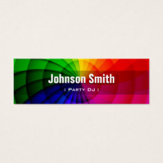 Party Dj - Radial Rainbow Colors Mini Business Card at Zazzle