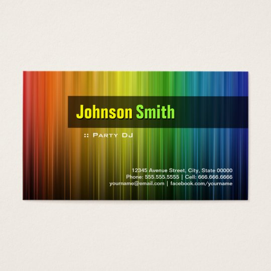 Party DJ - Stylish Rainbow Colors Business Card