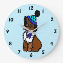 Party Dog Blue Large Clock
