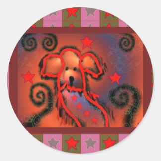 Party dog classic round sticker