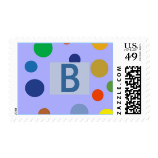 """Party Dots Initial """"B"""" Can Be Changed Postage Stamp"""