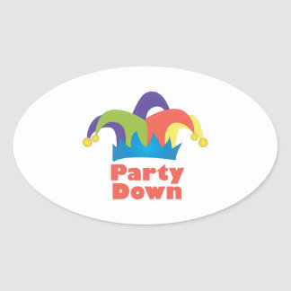 Party Down Oval Sticker