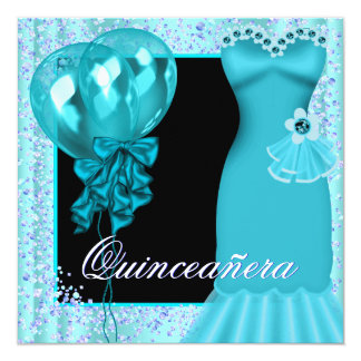 Party Dress Balloons Purple Teal Blue Quinceanera Card