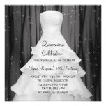 Party Dress Black White Quinceanera Invitations