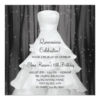 Party Dress Black White Quinceanera Invitations