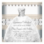 Party Dress Gold and White Quinceanera Invitations