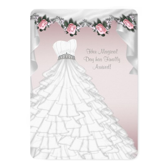 Party Dress Princess Pink Rose Quinceanera Card