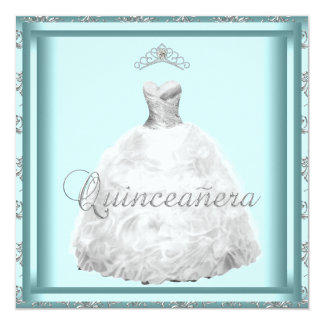 Party Dress Tiara Teal Blue White Quinceanera Card