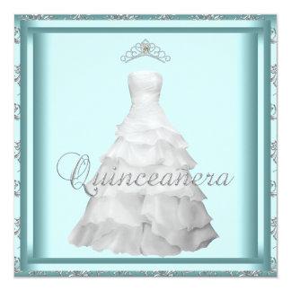 Party Dress Tiara Teal Blue White Quinceanera Announcement