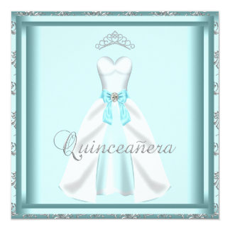 Party Dress Tiara Teal Damask Quinceanera Card