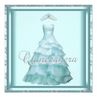 Party Dress Tiara Teal Damask Quinceanera Custom Invitations