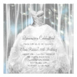 Party Dress White and Blue Quinceanera Invitations