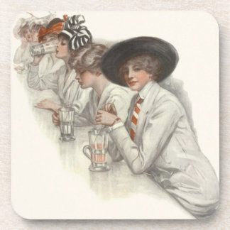 Party Drink Coaster Vintage Fashionable Flappers