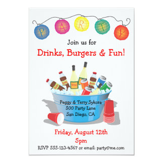 """Party Drinks Invitation with wine, soda and beer 5"""" X 7"""" Invitation Card"""