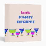 Party Drinks Recipes Binder Vinyl Binder