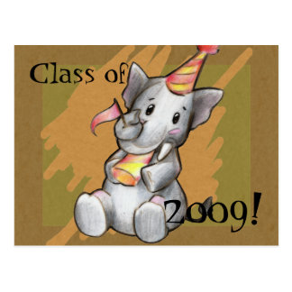 Party Elephant Graduate Postcard