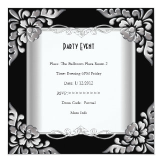 Party Event Elegant Floral Silver White Personalized Invitation