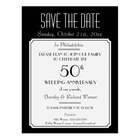 party  event or reunion save the date in black postcard