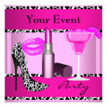 Party Event Shoes Pink Lipstick Custom Invites