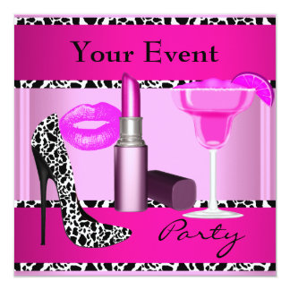"""Party Event Shoes Pink Lipstick 5.25"""" Square Invitation Card"""