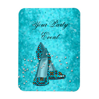 Party Event Teal Blue Glitter Shoes Rectangular Photo Magnet