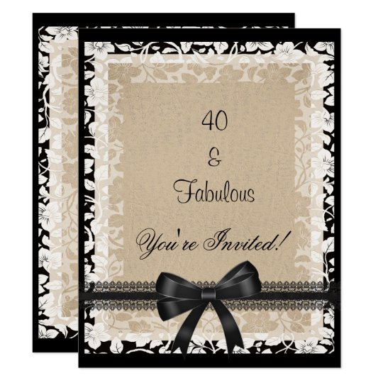 Party Fabulous 40th Black White Beige Floral Card