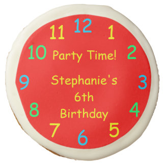 Party Favor Kids 6th Birthday Party, Red Clock Sugar Cookie