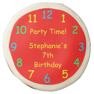 Party Favor, Kids 7th Birthday Party, Red Clock Sugar Cookie