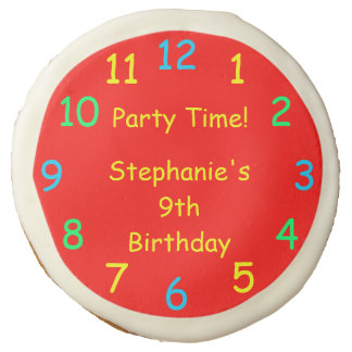 Party Favor, Kids 9th Birthday Party, Red Clock Sugar Cookie