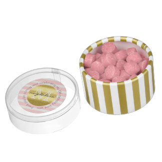 Party Favor Monogram Gold Glitter Pink Stripes Chewing Gum
