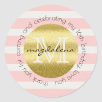 Party Favor Monogram Gold Glitter Pink Stripes Classic Round Sticker