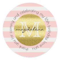 Party Favor Monogram Gold Glitter Pink Stripes Classic Round Sticker