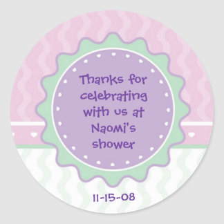 Party Favor Sticker for Shower (pink/green/purple)