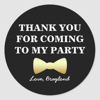 Party Favor Stickers, Black and Gold with Bow Tie Classic Round Sticker