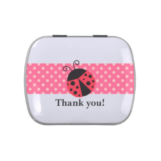 Party Favors - Ladybug, Pink and White Polka Dots Candy Tin